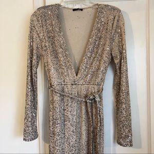 Fashion Nova Sequin Nude & Silver Jumpsuit